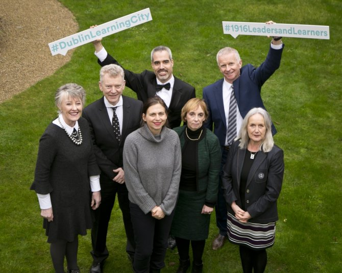 Pictured at the launch of Dublin Learning City (l-r): Dr. Anna Kelly, Chair at PATH Leinster Pillar 1 Consortium, UCD; Dr Andrew Power, Registrar and Vice President of Equality and Diversity, IADT; Professor Sarah Glennie, Director, NCAD; Professor Kevin Mitchell, Senior Lecturer, TCD; Professor Grace Mulcahy Chair, UCD Widening Participation Committee; Dr Gene Mehigan, Principal Lecturer & Director of Postgraduate Studies, MIE; and Dr Annie Doona, President of IADT.