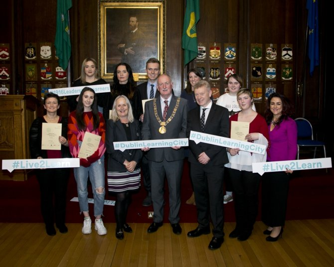 IADT 1916 'Leaders and Learners' Bursary 2018 – 2019 recipients with Lord Mayor Nial Ring, Dr Annie Doona President of IADT, Dr Andrew Power, Registrar and Vice President for Equality & Diversity, IADT, Sinead McEntee Access Officer and Denise McMorrow, Student Experience Manager