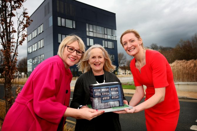 Jessica Fuller, Dr. Annie Doona and Ann Marie Phelan outside the Media Cube