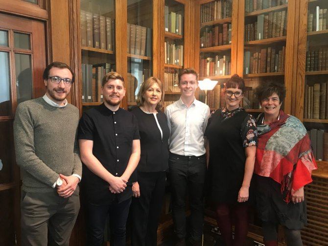 Pictured (l-r): Oisín Hassan, VP Academic Affairs, USI, Simon Lynch, Visual Communication graduate from IADT, Mary McAleese, Patron of the National Forum, Dale Whelehan, TCD, Karolyn McDonnell, IT Carlow and Dr Terry Maguire, Director, National Forum.